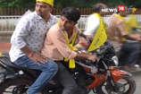 रघुवर दास के पटना आगमन पर कार्यकर्ताओं ने उड़ाई ट्रैफिक नियमों की धज्जियां