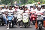 कन्या भ्रूण हत्या पर रोक लगाने के लिए महिलाओं ने निकाली स्कूटी रैली
