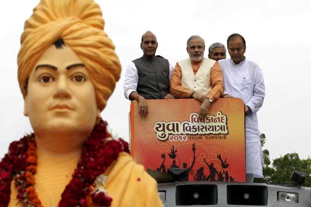 नरेन्द्र मोदी पहले भारतीय जनता पार्टी के राष्ट्रीय मन्त्री फिर महामन्त्री बनाए गए।