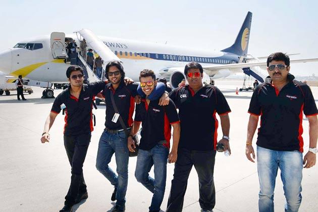 </p><p>हैदराबाद में तेलुगु वारियर्स के खिलाड़ी।</p><figure class=