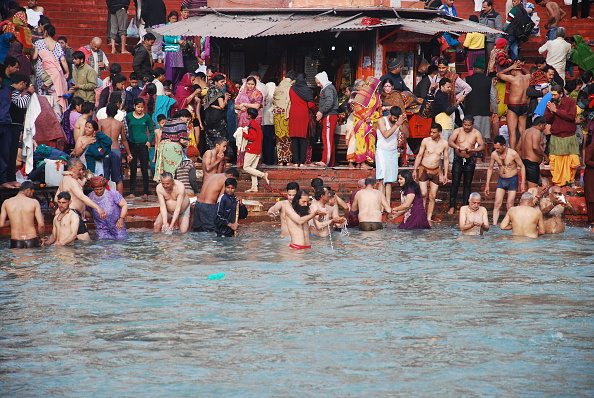 Devotees Take Bath In Ganga At Haridwar Ardh Kumbh