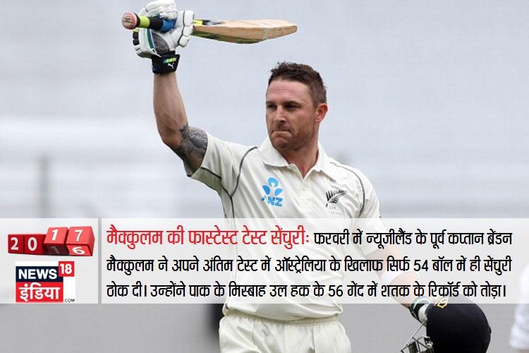फरवरी में न्यूजीलैंड के पूर्व कप्तान ब्रेंडन मैक्कुलम ने अपने अंतिम टेस्ट में ऑस्ट्रेलिया के खिलाफ सिर्फ 54 बॉल में ही सेंचुरी ठोक दी। उन्होंने पाकिस्तान के मिस्बाह उल हक के 56 गेंद में शतक के रिकॉर्ड को तोड़ा।