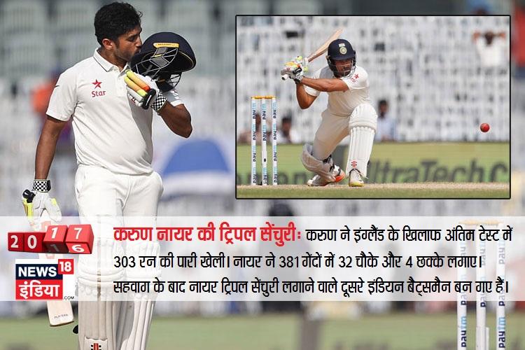 करुण नायर ने इंग्लैंड के खिलाफ अंतिम टेस्ट में 303 रन की पारी खेली। नायर ने 381 गेंदों का सामना किया। इस दौरान 32 चौके और 4 छक्के भी लगाए। सहवाग के बाद नायर ट्रिपल सेंचुरी लगाने वाले दूसरे इंडियन बैट्समैन बन गए।