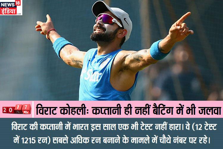 विराट की कप्तानी में भारत इस साल एक भी टेस्ट नहीं हारा। वे (12 टेस्ट में 1215 रन) सबसे अधिक रन बनाने के मामले में चौथे नंबर पर रहे।
