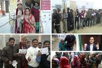 यूपी चुनाव: कोई शादी के फौरन बाद पहुंचा वोट डालने तो कहीं व्हीलचेयर पर बूढ़ी मां ने किया मतदान