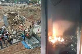 मंदसौर में मंदिर का चबूतरा गिरा, आक्रोशित लोगों ने वाहनों और ऑफिस में लगाई आग
