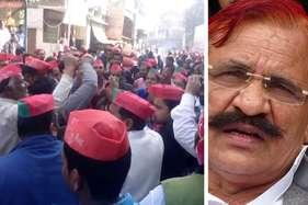 सपा के मंत्री ने किया आचार सहिंता का उल्लंघन, समर्थकों ने जमकर उड़ाए नोट