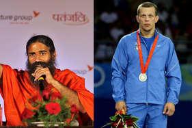 रामदेव ने ओलंपिक सिल्वर विजेता को कुश्ती के लिए ललकारा