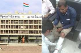 गुजरात विधानसभा में हुई हाथापाई, कांग्रेसी विधायक का पैर टूटा