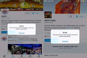 ट्विटर एकाउंट सस्पेंड करने पर मचा बवाल, एबीवीपी ने की माफी की मांग