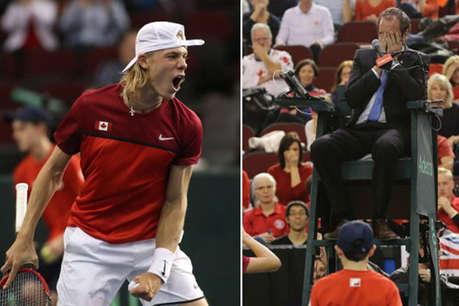 डेविस कप: पॉइंट गंवाने के बाद भड़का टेनिस स्टार, अंपायर के मुंह पर मारी गेंद