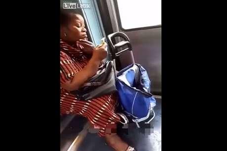चलती ट्रेन में महिला करने लगी शेव, वीडियो हुआ वायरल!