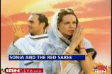 Sonia's Cong up in arms over 'The Red Saree'