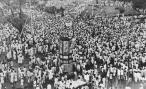 August 24, 1946: A section of the huge crowd which attended the Muslim League Direct Action Day meeting in Calcutta in protest against British Cabinet negotiations on India. (Photo by Keystone/Getty Images)