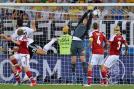 Denmark's Michael Krohn-Dehli scores the equalizer against Germany. (AP Photo)