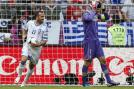 Greece's Fanis Gekas (left) celebrates after scoring a goal past Czech goalkeeper Petr Cech. (AP Photo)