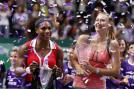 Winner Serena Williams of the US and second-placed Maria Sharapova of Russia pose after the WTA tennis championships final in Istanbul on October 28, 2012.