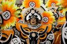 Performers from the Uniao da Ilha do Governador samba school participate in the carnival celebrations at the Sambadrome in Rio de Janeiro.