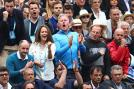 William Murray (Father), Kim Sears (wife), Mark Bender (Physio), Matt Little (Coach) and Jamie Delgado (Coach) applaud Andy Murray during the match. (Photo Credit: Getty Images)