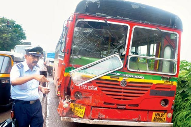 A BEST bus that was involved in an accident.