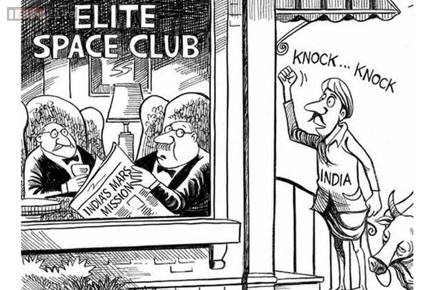 Cartoon on Mars Mission of India on India's Mars Mission