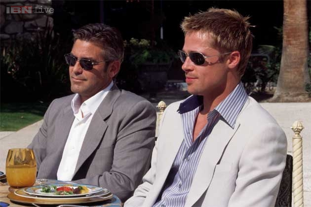 Photo of George Clooney & his friend  Brad Pitt