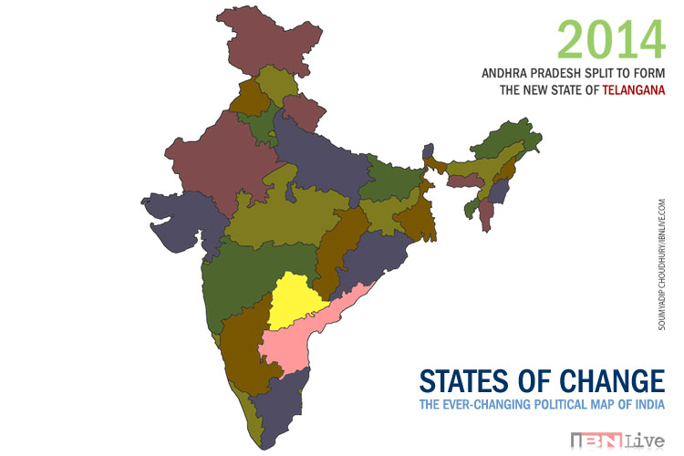 1 year of Telangana How the map of India has evolved since 1951