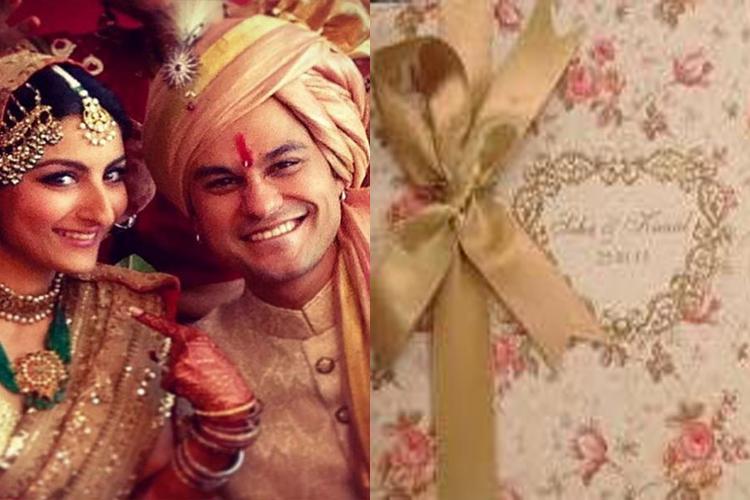 soha 12 unique, quirky and elegant celebrity wedding invites you may,Abhishek Bachchan Wedding Invitation Card