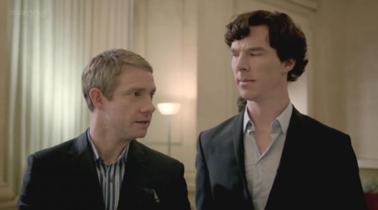 Martin Freeman as John Watson and Benedict Cumberbatch as Sherlock Holmes on Sherlock Series Two Finale The Reichenbach Fall
