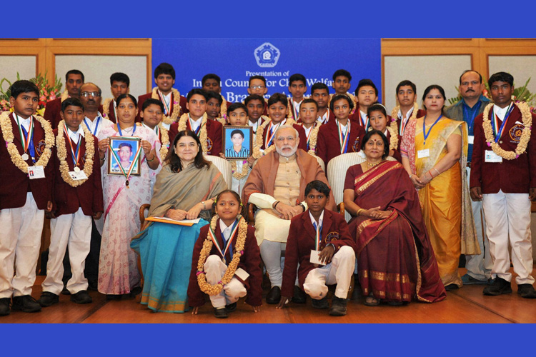 Image result for 25 children heroic Award : Narendra Modi