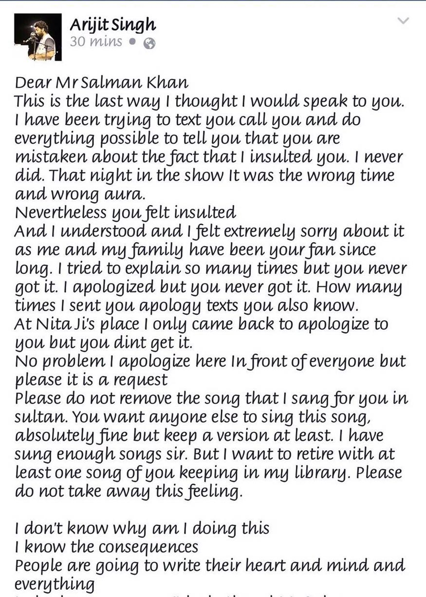 Arijit Singh Wrote an Heartfelt Apology to Salman Khan on Facebook