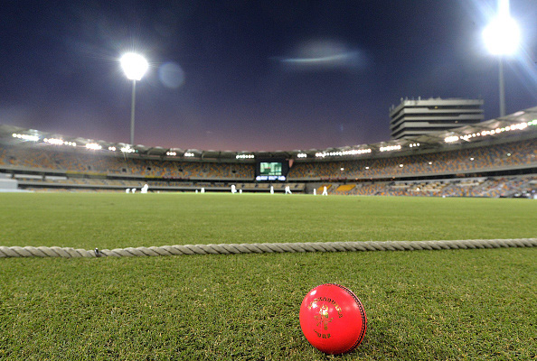 A pink ball rests on the boundary line during a day-night Test match (Getty Images)