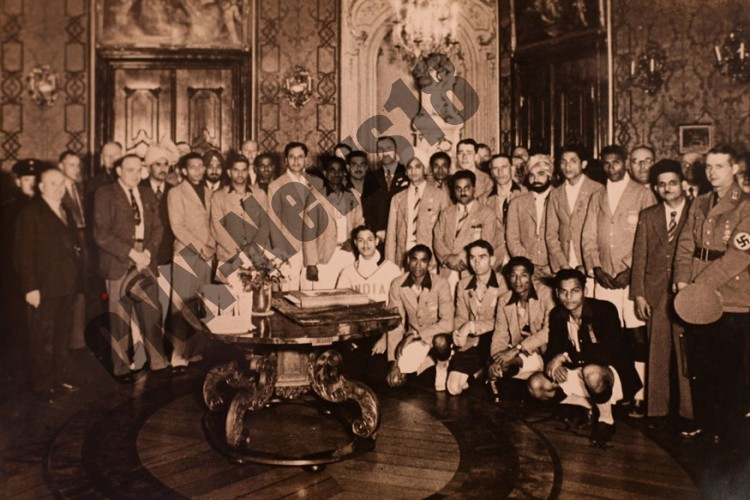Dhyan Chand and his team at a reception during 1936 Berlin Olympics.