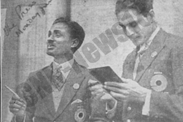 Captain Dhyan Chand and a team mate share a light moment during the 1936 Berlin Olympics.