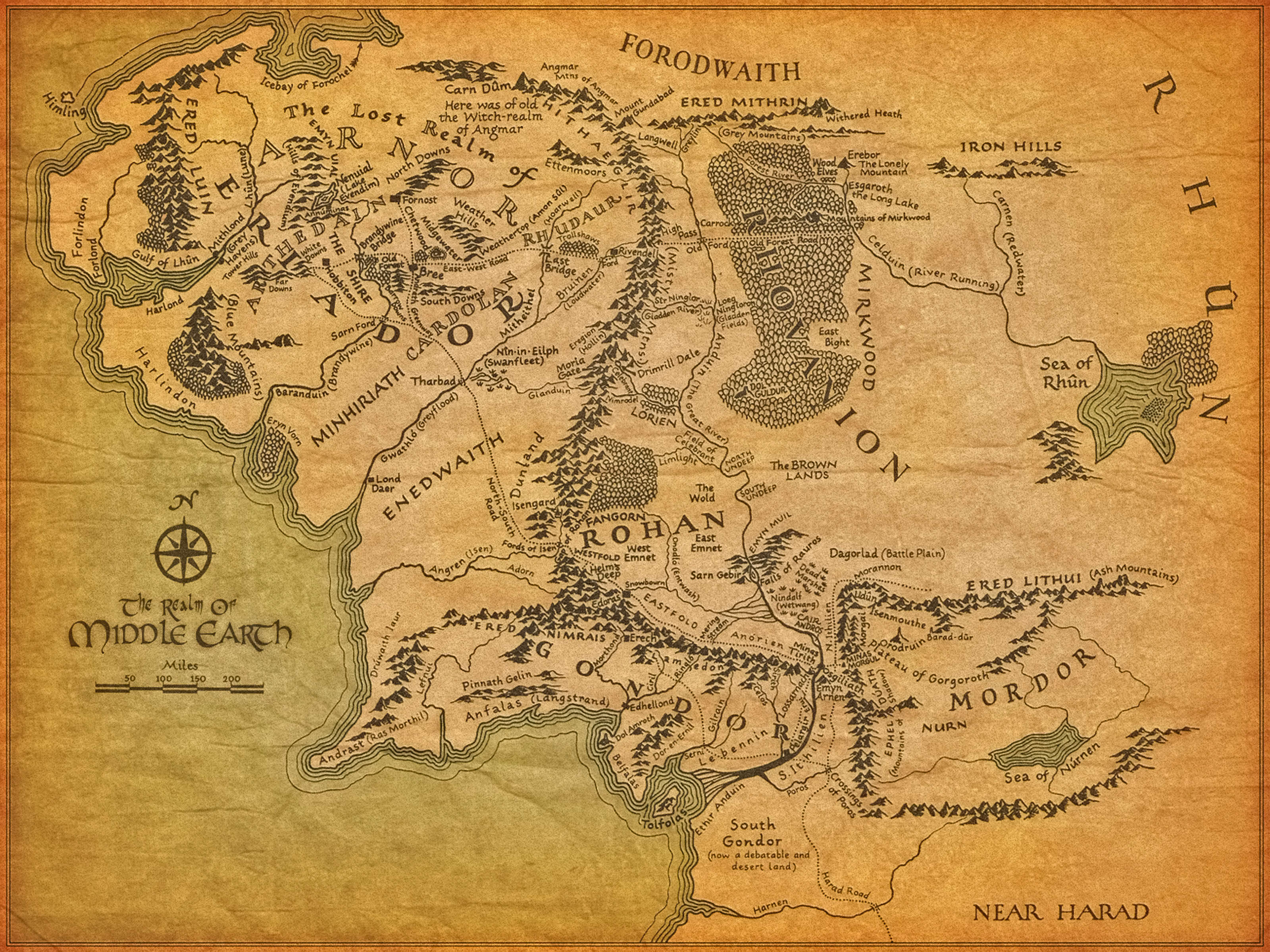 An Artist Drew A Lord Of The Rings Style Map Of America And It - North america map in gujarati