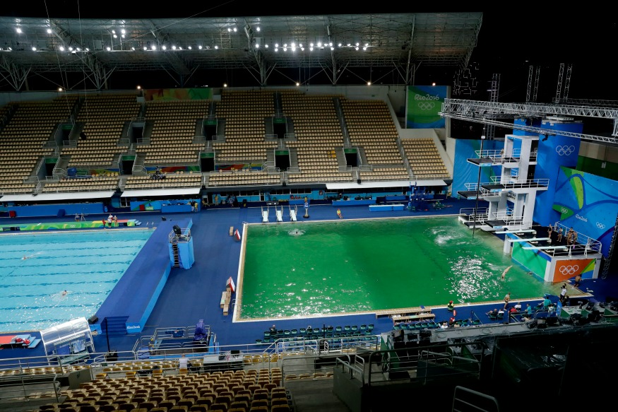 rio green not blue the color of swimming pool at olympics