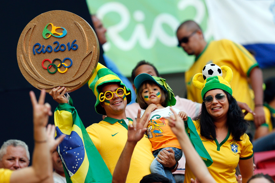 Brazil supporters pose for a photograph during the event. (Photo Credit: Reuters)