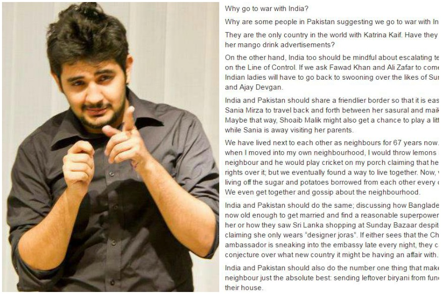 Pakistani Comedian's Take On Why India-Pakistan Should Not Go To War Is A Must Read