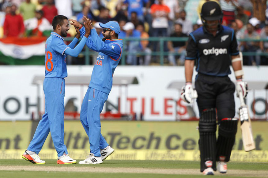 Hardik Pandya Celebrates with Virat Kohli after taking a Wicket. (BCCI Images)