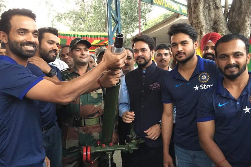 Indian Cricketers Visit Territorial Army Camp. (Image Courtesy: Indian Cricket Team Facebook Page)