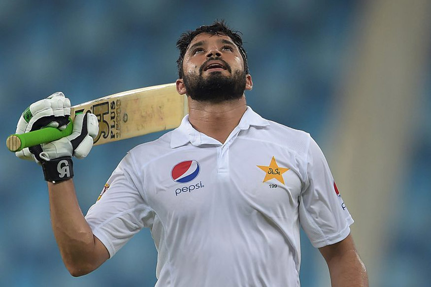Pakistan batsman Azhar Ali celebrating after scoring triple hundered (300) on the second day of the first day-night Test match against West Indies. (Picture Credit: Getty Images)