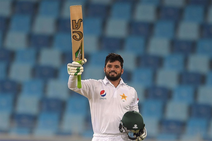 Azhar Ali celebrtes after scoring his maiden Triple Ton on the second day of the first day-night Test match against West Indies. (Picture Credit: Getty Images)