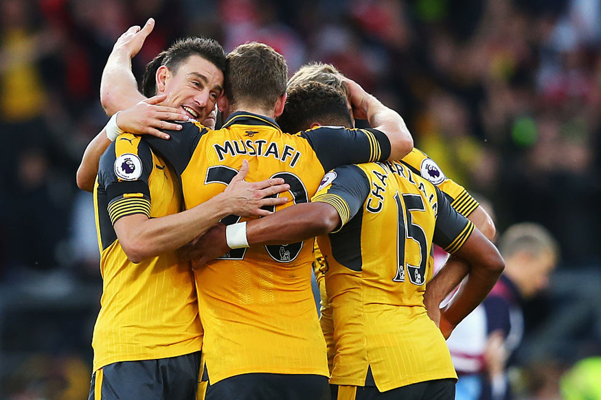 A file photo of Arsenal players celebrating a goal against Burnley. (Getty Images)
