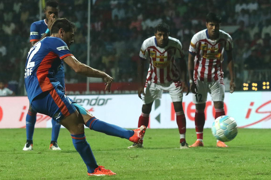 A file photo of Atletico de Kolkata and FC Goa players in action during the match. (ISL)