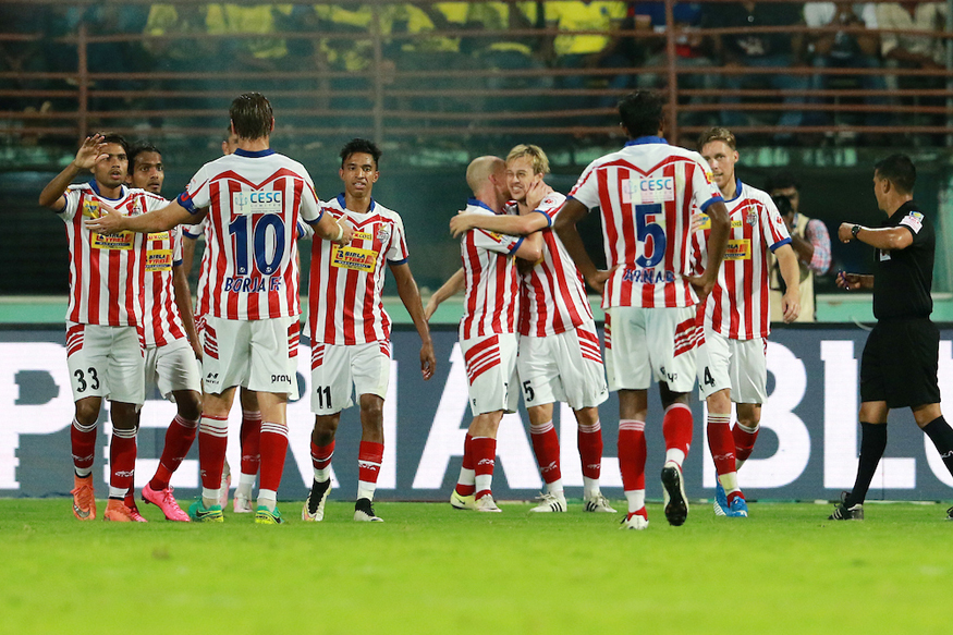 A file photo of Atletico de Kolkata players celebrating a goal against  Kerala Blasters FC. (ISL)