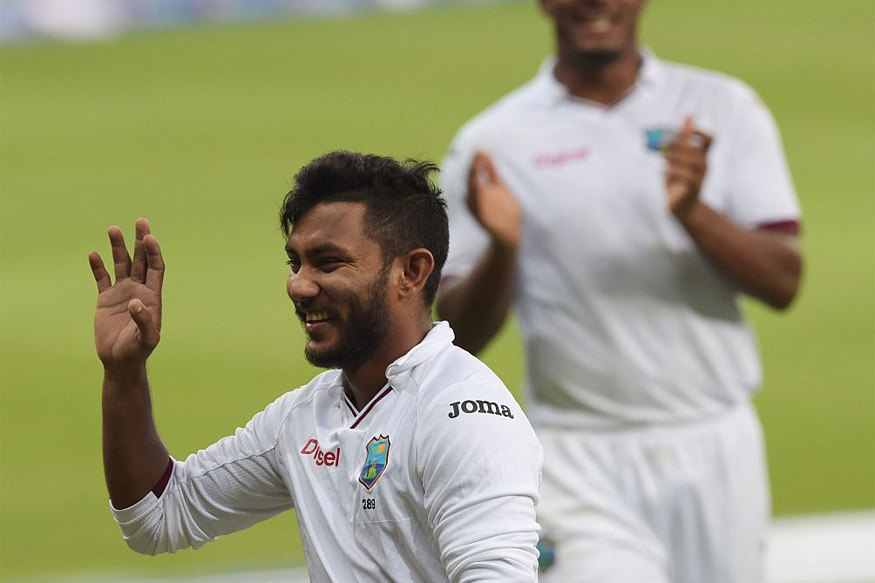 Devendra Bishoo of West Indies celebrates after taking 8th wicket against Pakistan on Fourth day of 1st Day Night Test. (Picture Credit: Getty Images)