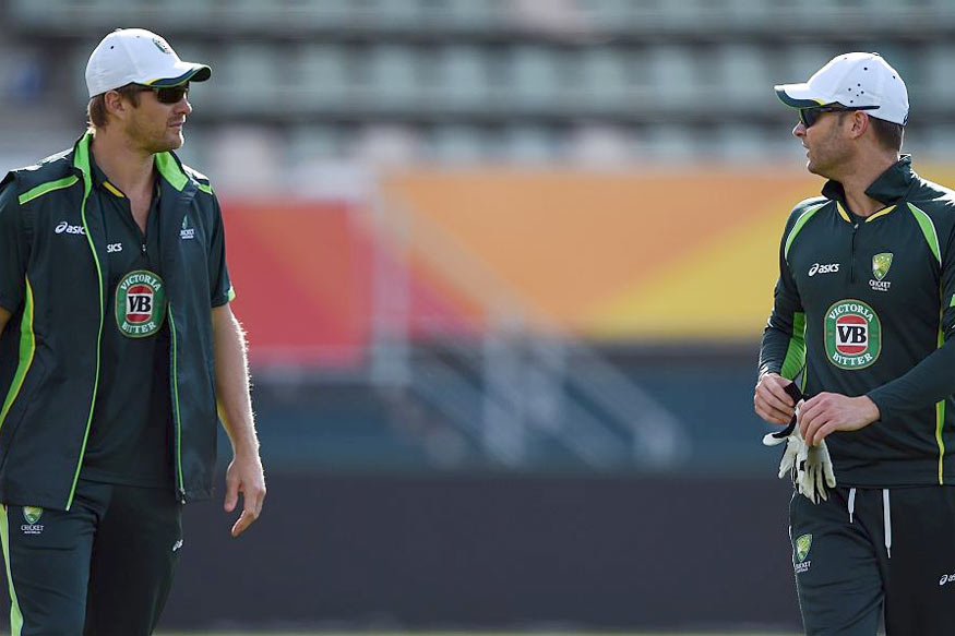 Shane Watson and Michael Clarke. (Getty Images)