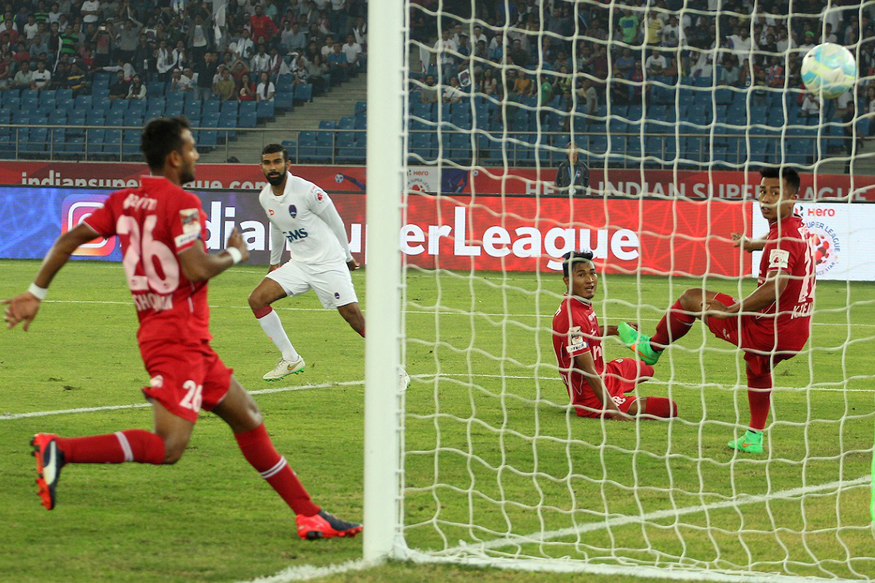 A file photo of Delhi Dynamos, NorthEast United FC players in action during a match. (ISL)