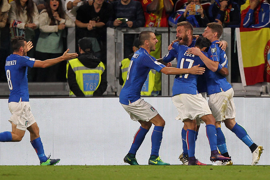 A file photo of Italy players celebrating a goal against Spain. (Getty Images)