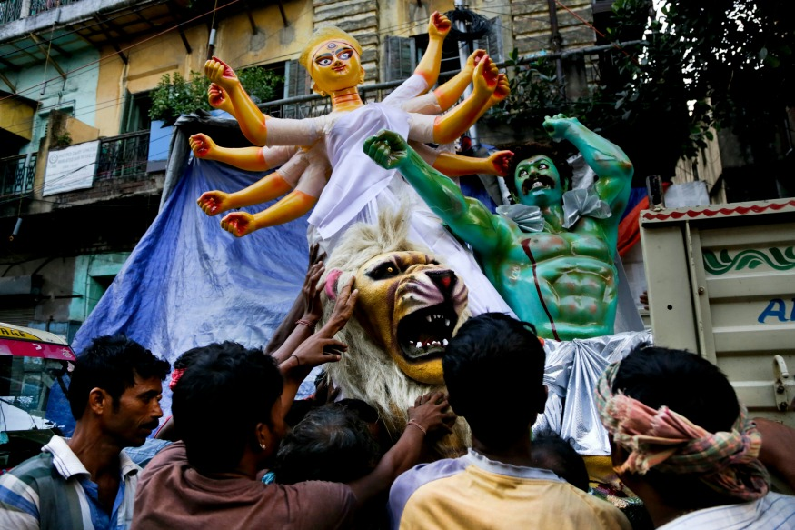 (Photo: AP/Idol of goddess Durga in Kolkata.)
